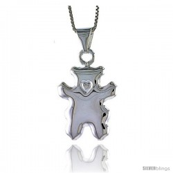 Sterling Silver Large Teddy Bear Pendant, Made in Italy. 1 in. (25 mm) Tall