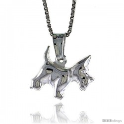 Sterling Silver Small Dog Pendant, Made in Italy. 1/2 in. Tall