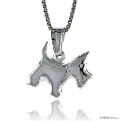Sterling Silver Small Dog Pendant, Made in Italy. 1/2 in. Tall -Style Iph253
