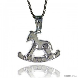 Sterling Silver Rocking Horse Pendant, Made in Italy. 9/16 in. (15 mm) Tall
