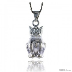 Sterling Silver Large Cat Pendant, Made in Italy. 1 in. (25 mm) Tall
