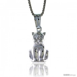 Sterling Silver Small Cat Pendant, Made in Italy. 9/16 in. (15 mm) Tall