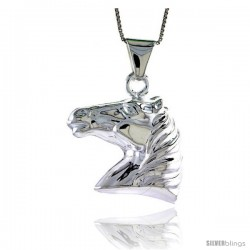 Sterling Silver Large Horse Head Pendant, Made in Italy. 1 3/16 in. (30 mm) Tall