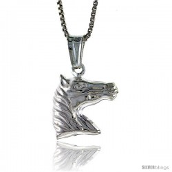 Sterling Silver Horse Head Pendant, Made in Italy. 9/16 in. (14 mm) Tall