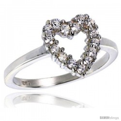 Highest Quality Sterling Silver 1/2 in (11 mm) wide Ladies' Heart Cut-out Ring, Brilliant Cut CZ Stones