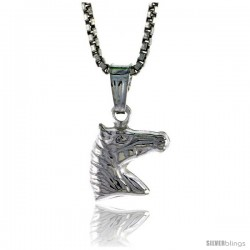 Sterling Silver Teeny Horse Head Pendant, Made in Italy. 5/16 in. (8 mm) Tall
