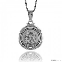 Sterling Silver Jesus Medal, Made in Italy. 5/8 in. (17 mm) in Diameter.