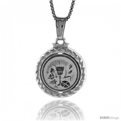 Sterling Silver Eucharist Medal, Made in Italy. 5/8 in. (17 mm) in Diameter.
