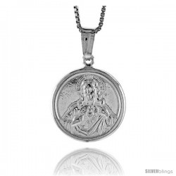 Sterling Silver Sacred Heart of Jesus Medal, Made in Italy. 11/16 in. (18 mm) in Diameter.