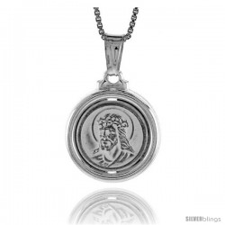 Sterling Silver Jesus with Thorns Medal, Made in Italy. 5/8 in. (17 mm) in Diameter.