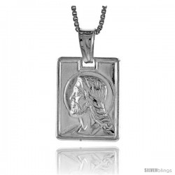 Sterling Silver Jesus Pendant, Made in Italy. 5/8 in. (17 mm) Tall