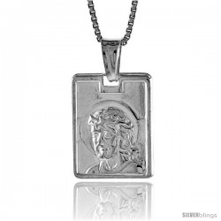 Sterling Silver Jesus Pendant, Made in Italy. 5/8 in. (17 mm) Tall -Style Iph32