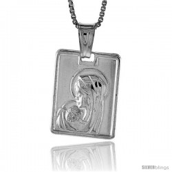 Sterling Silver Madonna & Child Pendant, Made in Italy. 5/8 in. (17 mm) Tall