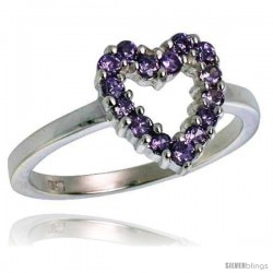 Highest Quality Sterling Silver 1/2 in (11 mm) wide Ladies' Heart Cut-out Ring, Brilliant Cut Amethyst-colored CZ Stones