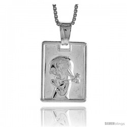 Sterling Silver Girl Pendant, Made in Italy. 5/8 in. (17 mm) Tall