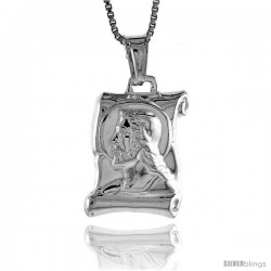 Sterling Silver Jesus Scroll Pendant, Made in Italy. 3/4 in. (19 mm) Tall