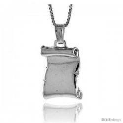 Sterling Silver Plain Scroll Pendant, Made in Italy. 11/16 in. (18 mm) Tall