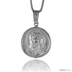 Sterling Silver Jesus Medal, Made in Italy. 11/16 (18 mm) in Diameter.