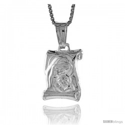 Sterling Silver Madonna & Child Scroll Pendant, Made in Italy. 9/16 in. (15 mm) Tall