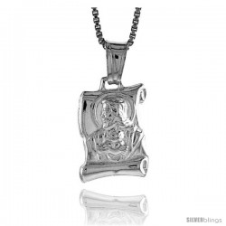 Sterling Silver Jesus Scroll Pendant, Made in Italy. 9/16 in. (15 mm) Tall