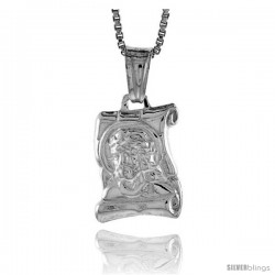Sterling Silver Jesus on a Scroll Pendant, Made in Italy. 9/16 in. (15 mm) Tall