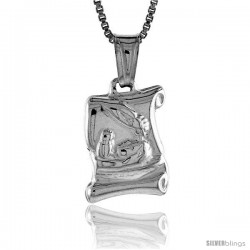 Sterling Silver Baptismal Certificate Pendant, Made in Italy. 9/16 in. (15 mm) Tall