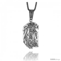 Sterling Silver Jesus Pendant, Made in Italy. 3/4 in. (19 mm) Tall