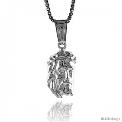 Sterling Silver Teeny Jesus Pendant, Made in Italy. 1/2 in. (13 mm) Tall