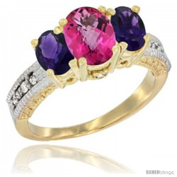 10K Yellow Gold Ladies Oval Natural Pink Topaz 3-Stone Ring with Amethyst Sides Diamond Accent