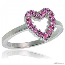 Highest Quality Sterling Silver 1/2 in (11 mm) wide Ladies' Heart Cut-out Ring, Brilliant Cut Pink Tourmaline-colored CZ Stones