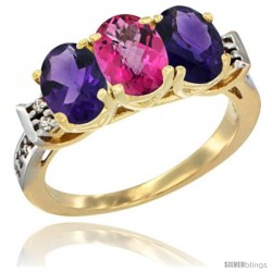 10K Yellow Gold Natural Pink Topaz & Amethyst Sides Ring 3-Stone Oval 7x5 mm Diamond Accent