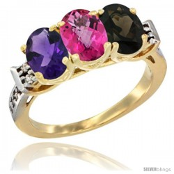 10K Yellow Gold Natural Amethyst, Pink Topaz & Smoky Topaz Ring 3-Stone Oval 7x5 mm Diamond Accent