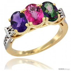 10K Yellow Gold Natural Amethyst, Pink Topaz & Mystic Topaz Ring 3-Stone Oval 7x5 mm Diamond Accent