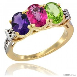 10K Yellow Gold Natural Amethyst, Pink Topaz & Peridot Ring 3-Stone Oval 7x5 mm Diamond Accent
