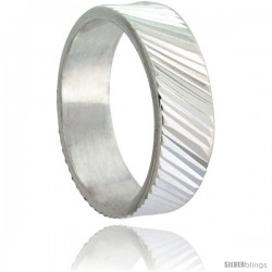 Sterling Silver 6mm Wide Ridged Wedding Band