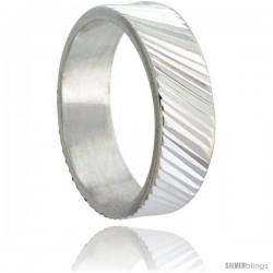 Sterling Silver 6mm Wide Ridged Wedding Band