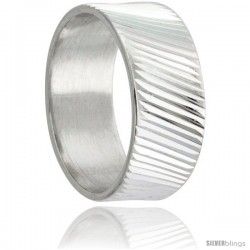 Sterling Silver 9mm Wide Ridged Wedding Band