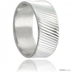 Sterling Silver 9mm Wide Ridged Wedding Band