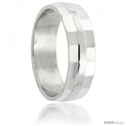 Sterling Silver 6mm Wedding Band Plain Center Stripe Edge-Faceted