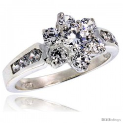 Highest Quality Sterling Silver 1/2 in (11 mm) wide Ladies' Flower Stone Ring, Brilliant Cut CZ Stones