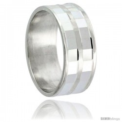 Sterling Silver 8mm Wedding Band 2 row Faceted Plain Center Stripe and Edges