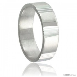 Sterling Silver 6mm Wedding Band Vertical Stripes Intervals