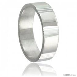 Sterling Silver 6mm Wedding Band Vertical Stripes Intervals