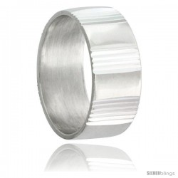 Sterling Silver 8mm Wedding Band with Vertical Stripes Intervals