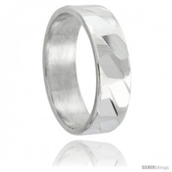 Sterling Silver 6mm Wedding Band Spiral Faceted