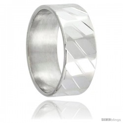 Sterling Silver 8mm Wedding Band Spiral Faceted