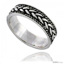 Sterling Silver Braided Rope Wedding Band Ring