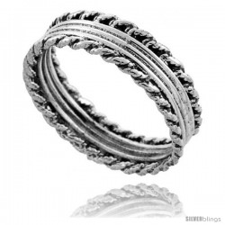 Sterling Silver Bali Style Rope Wedding Band Ring, 1/4 in wide