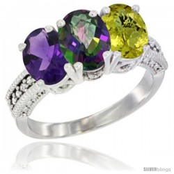 10K White Gold Natural Amethyst, Mystic Topaz & Lemon Quartz Ring 3-Stone Oval 7x5 mm Diamond Accent