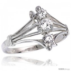 Highest Quality Sterling Silver 1/2 in (12 mm) wide Diamond-shaped Stone Ring, Brilliant Cut CZ Stones